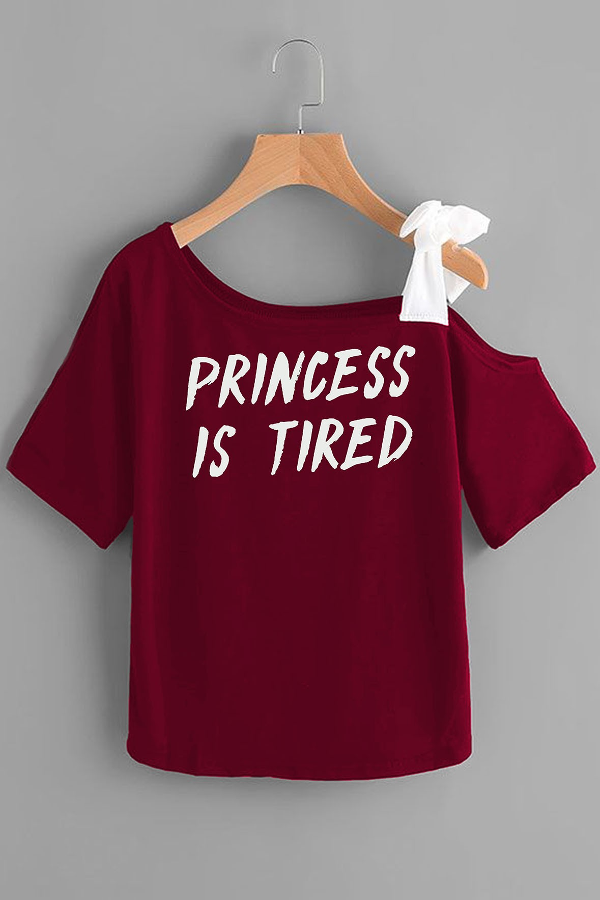 Princess is tired marsala white top