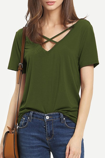 Criss Cross Front Casual T-shirt Green