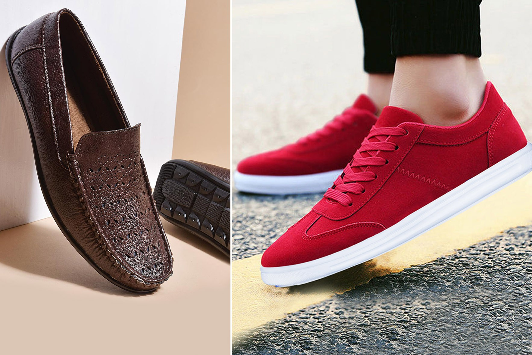 Combo:- Breaking bad loafers & Low Top Sneakers Red