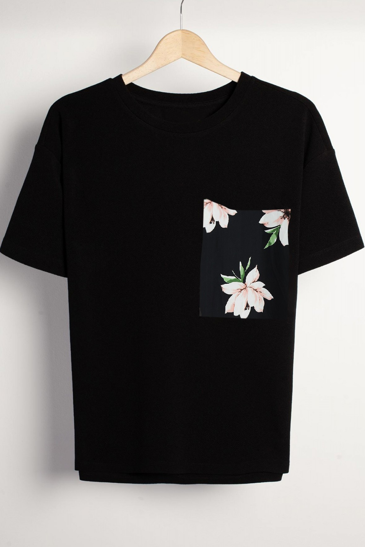 Floral Pocket Black Tee