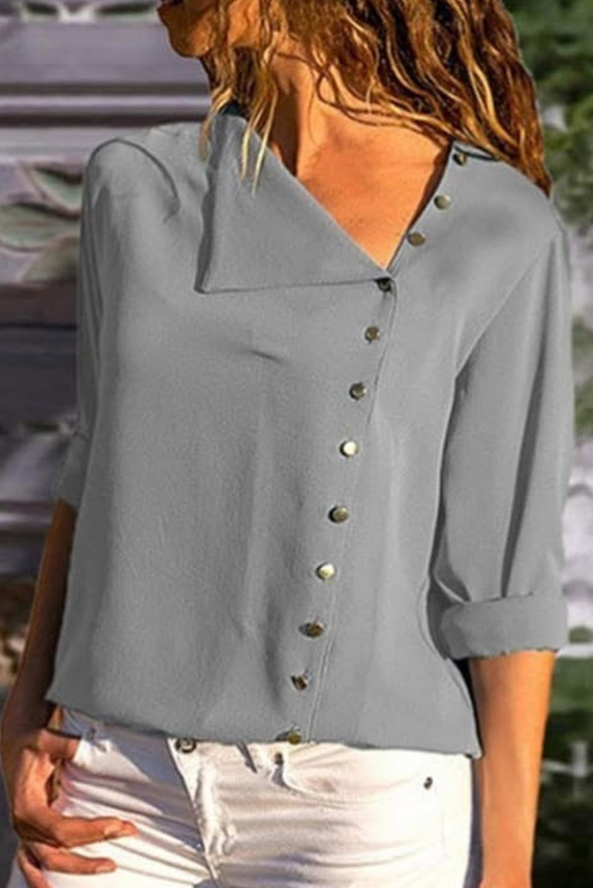 Side button long sleeve grey top