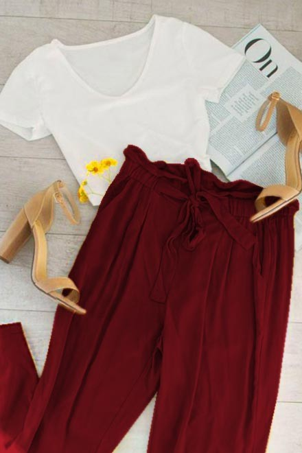 Set- White top with marsala trouser