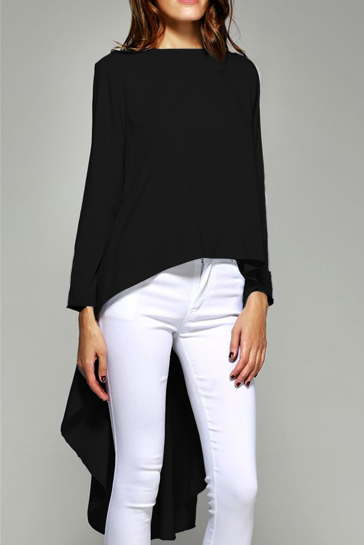 High low boat neck black top