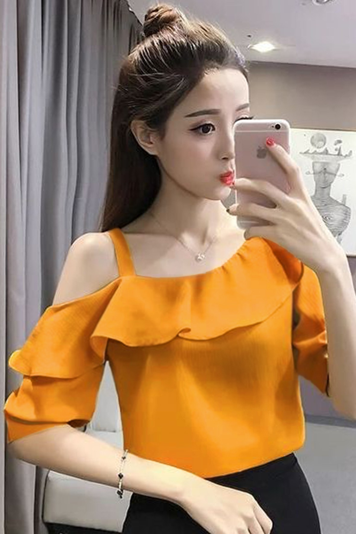 One shoulder off yellow ruffle top