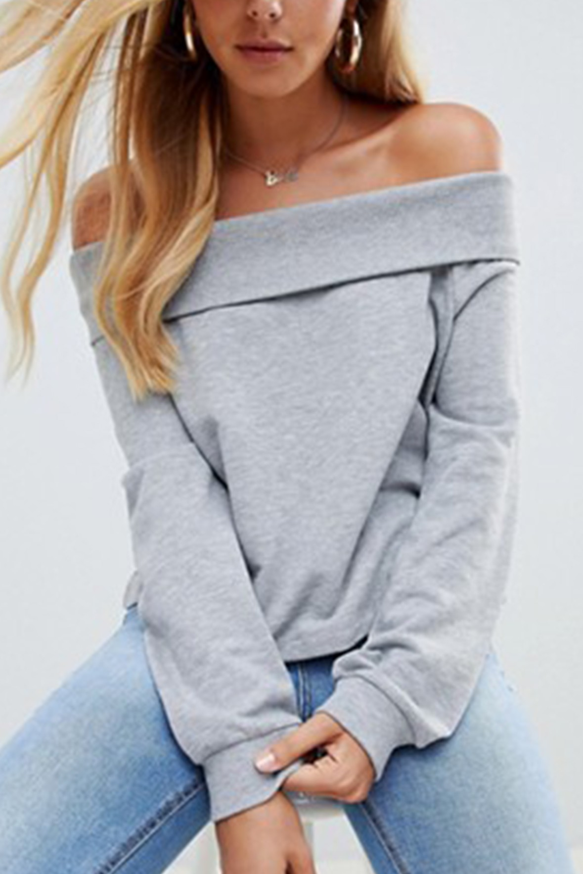 Off Shoulder Sweat With Foldover in Grey