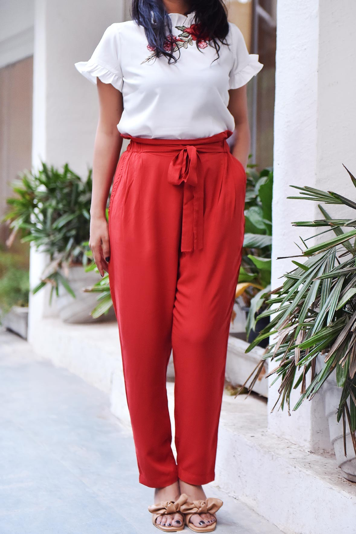 Set- Patch Work Top with Hot Red Trouser