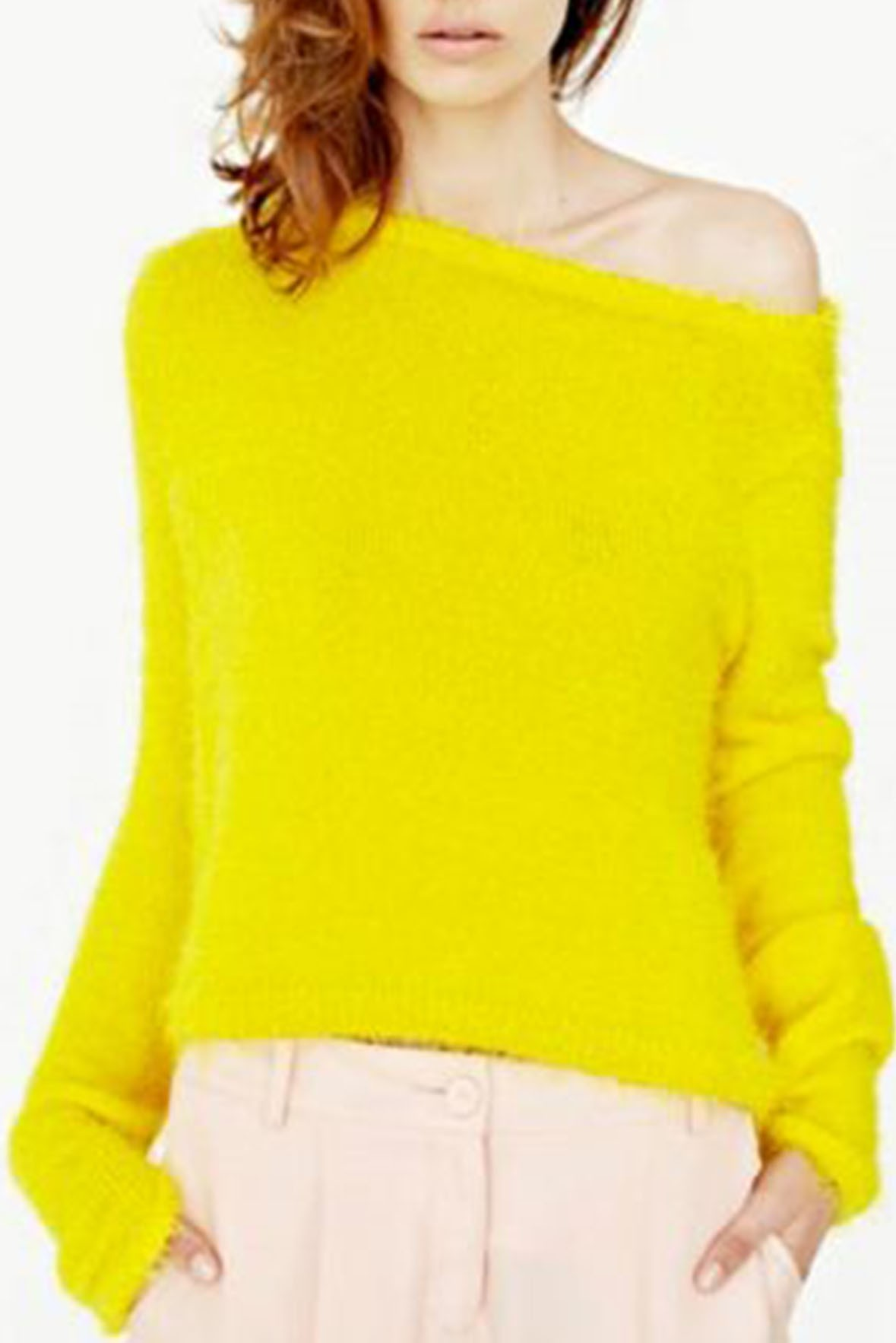 One Shoulder Long Sleeve Top Style Sweter