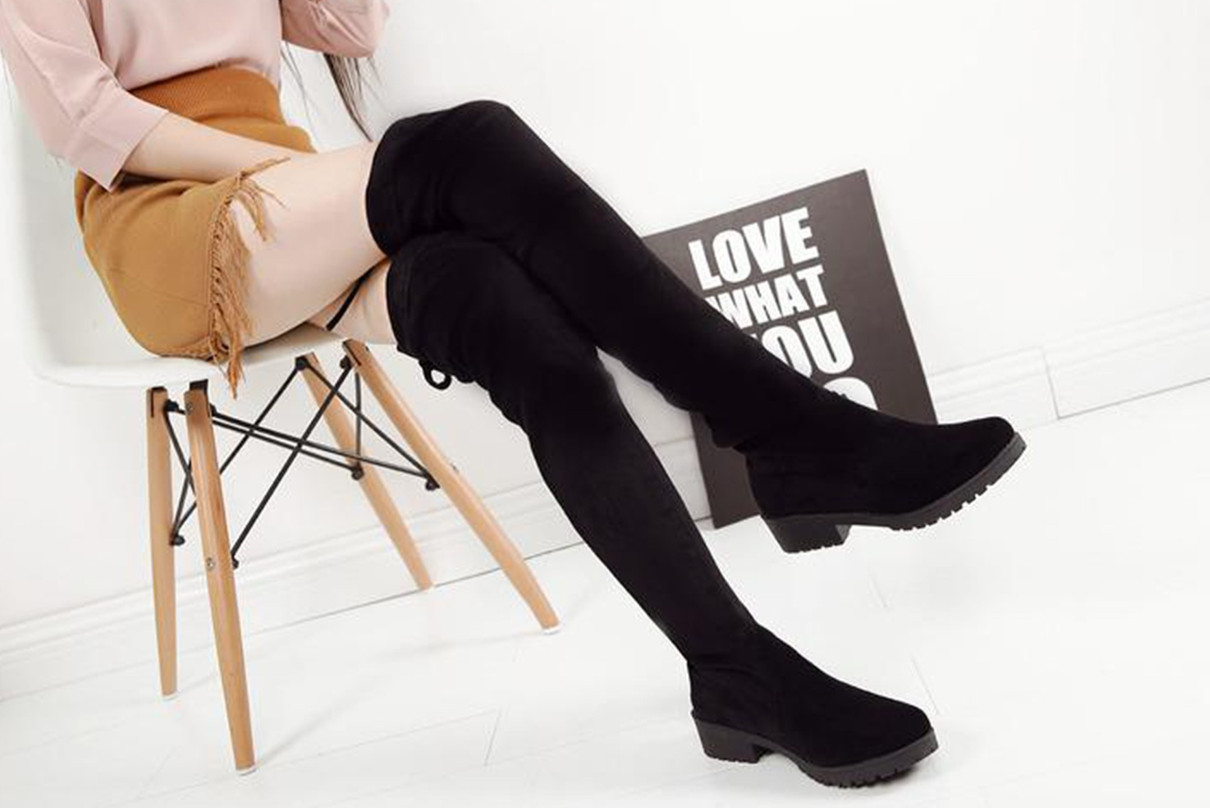 8d9f4123e380 Over the Knee Black Winter Boots