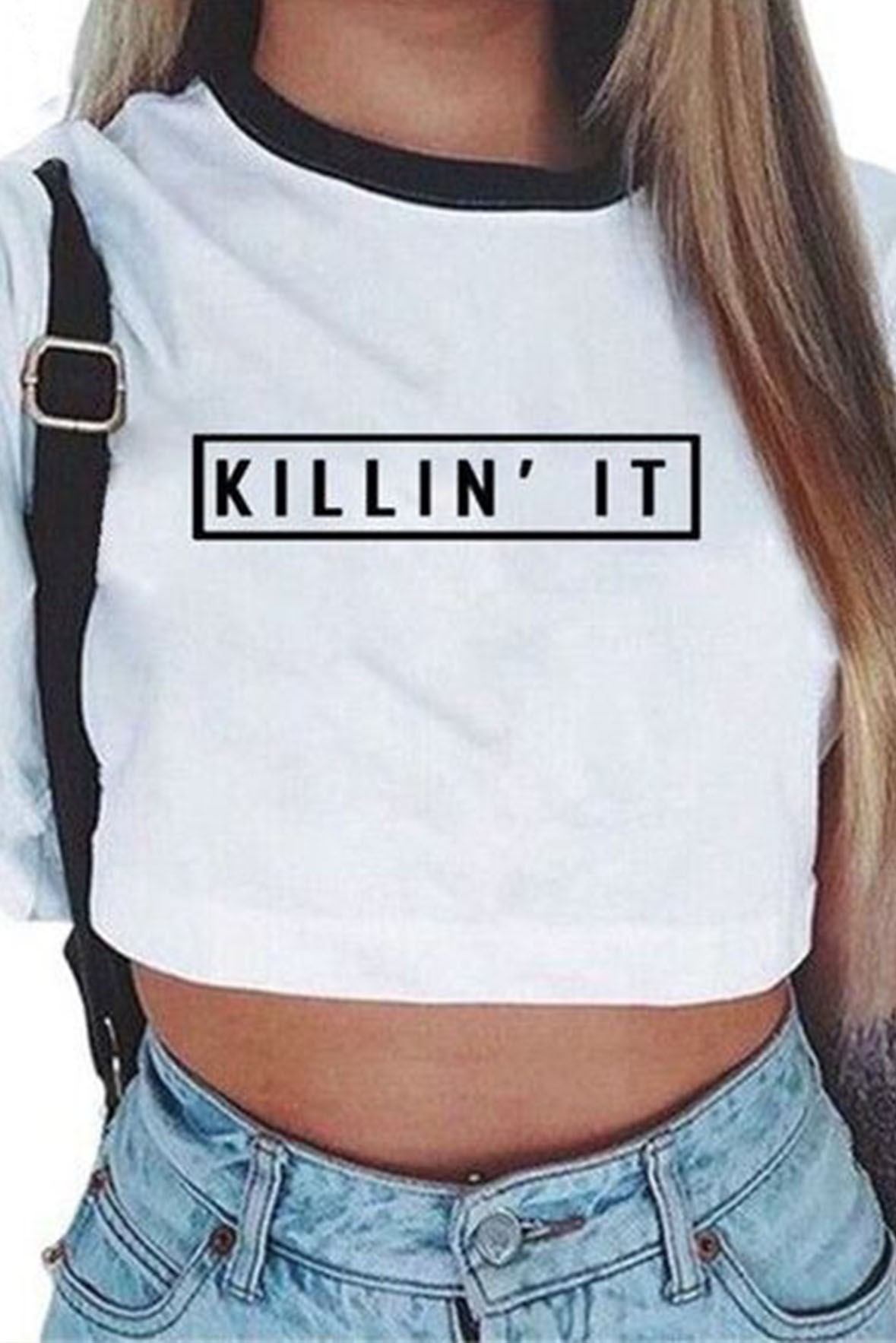 White Crop Killin it t-shirt