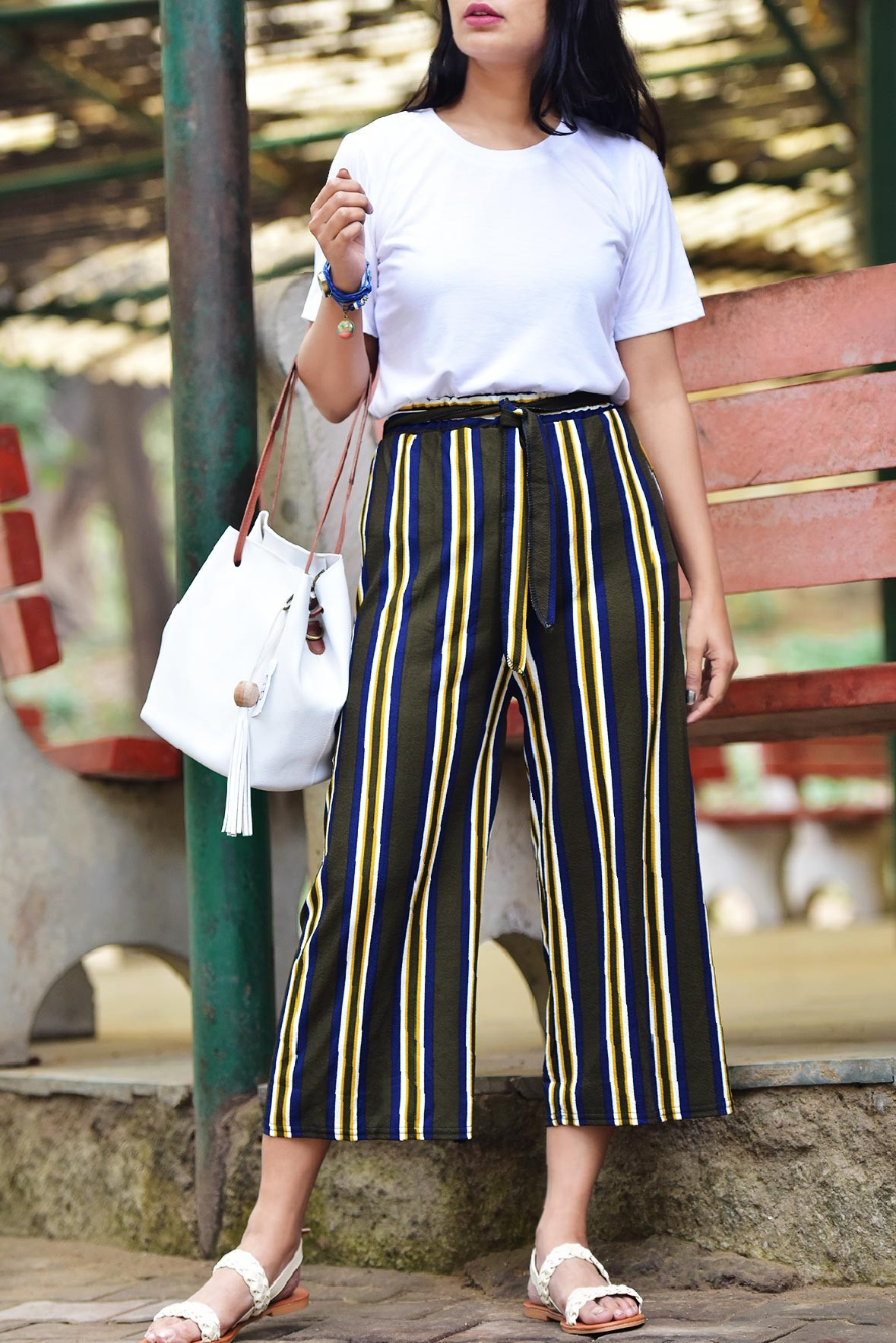 Set: White top with militray green stripeline trouser