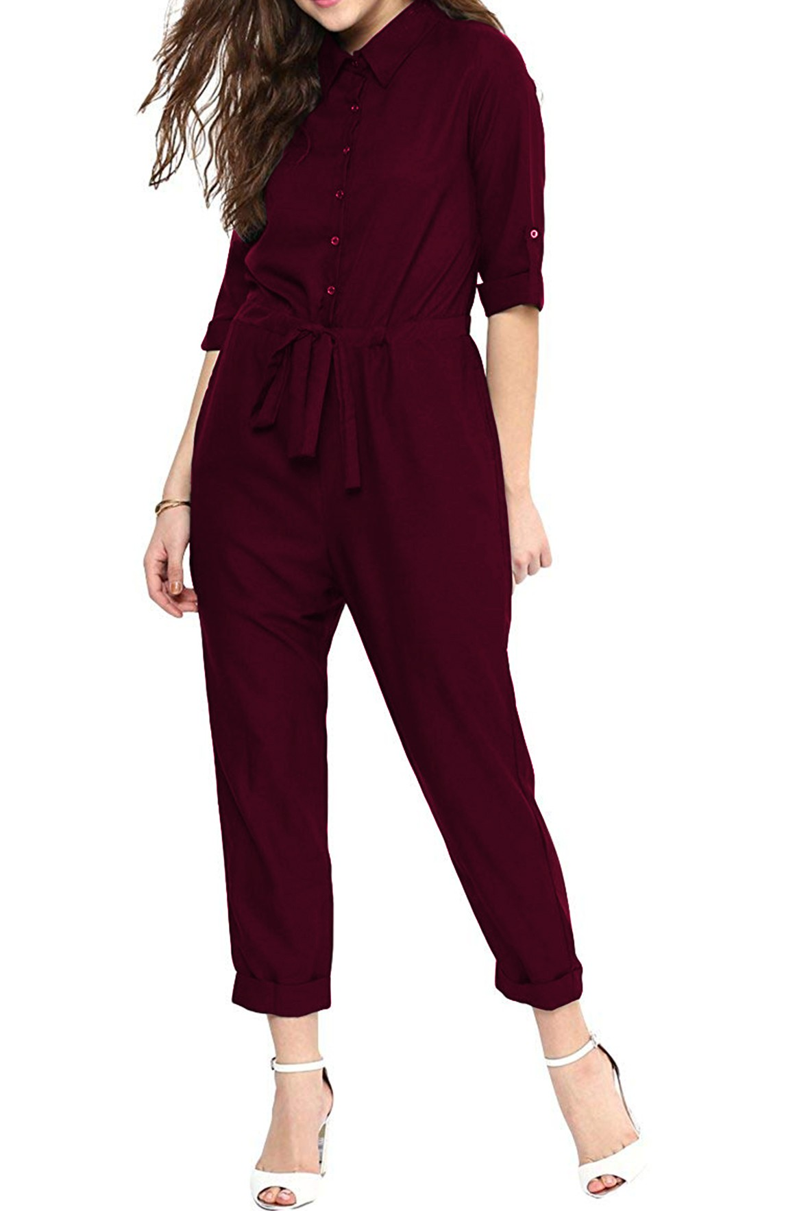 Button Through Belted Jumpsuit Marsala