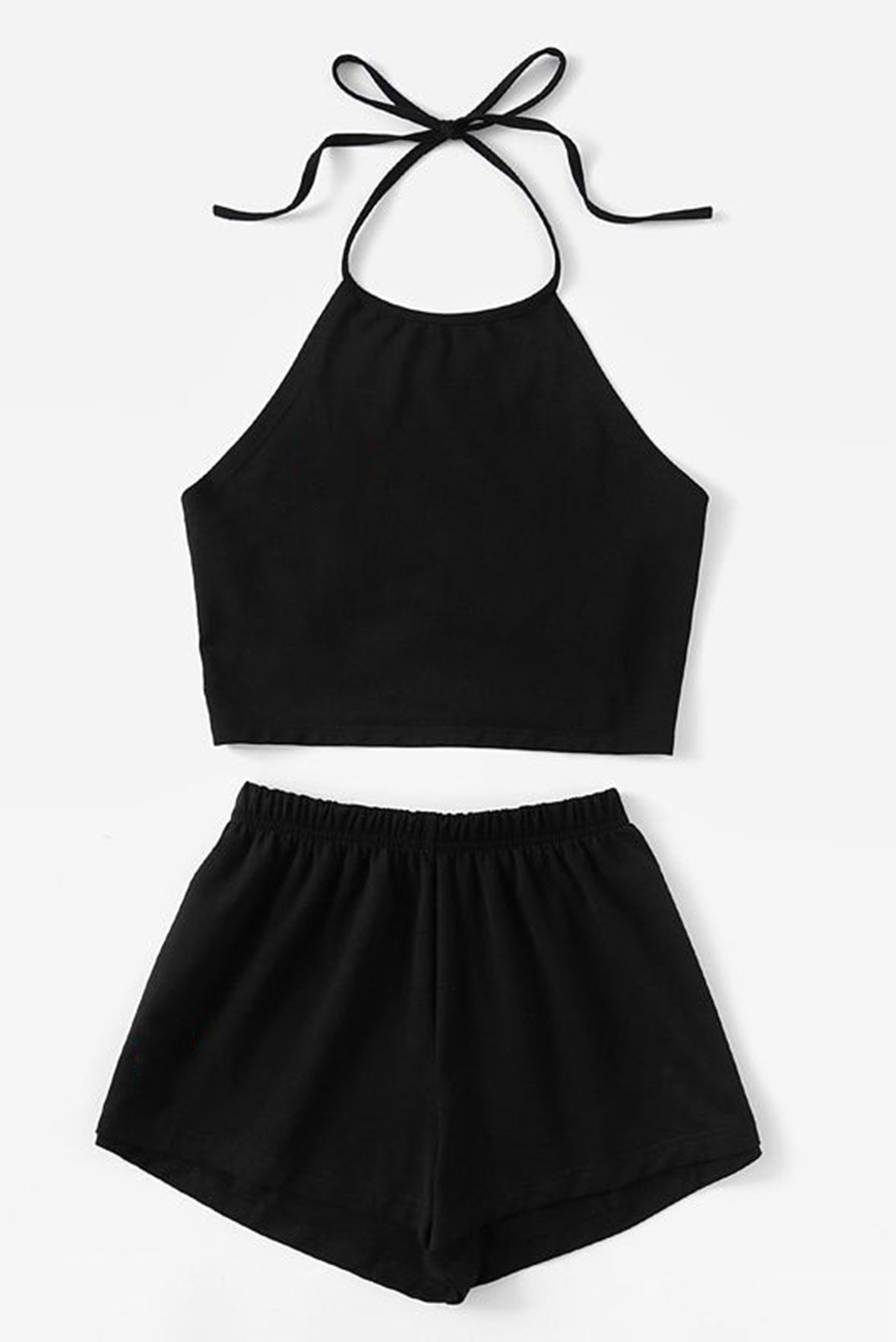Set- Black sleeveless Top with Shorts