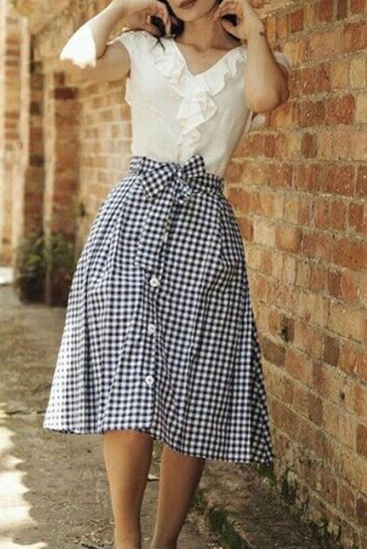 Set- White top with gingham midi skirt