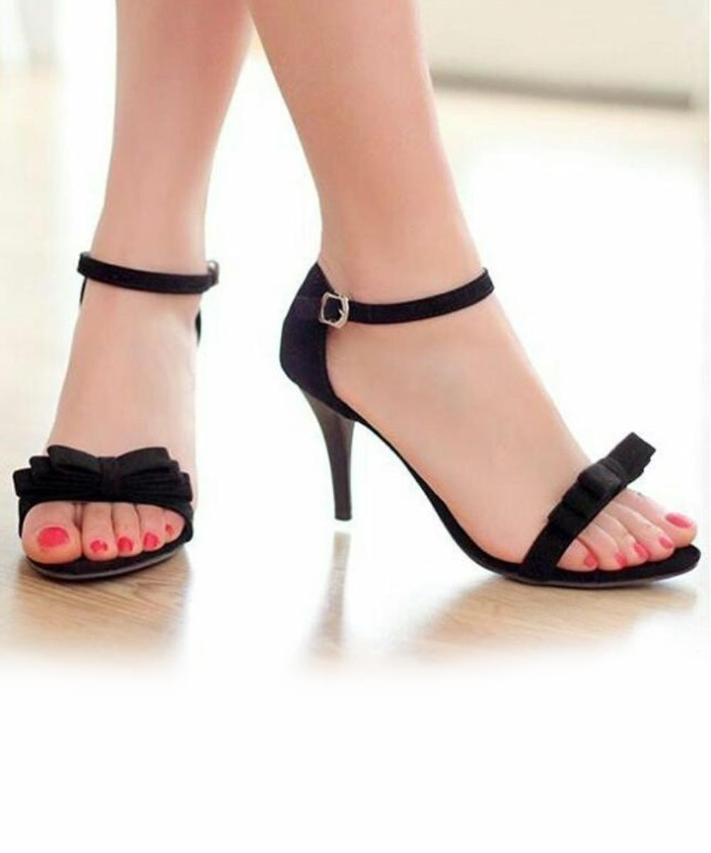competitive price 6c26c 10b02 Front Bow Catchy Heel-Black - Street Style Store