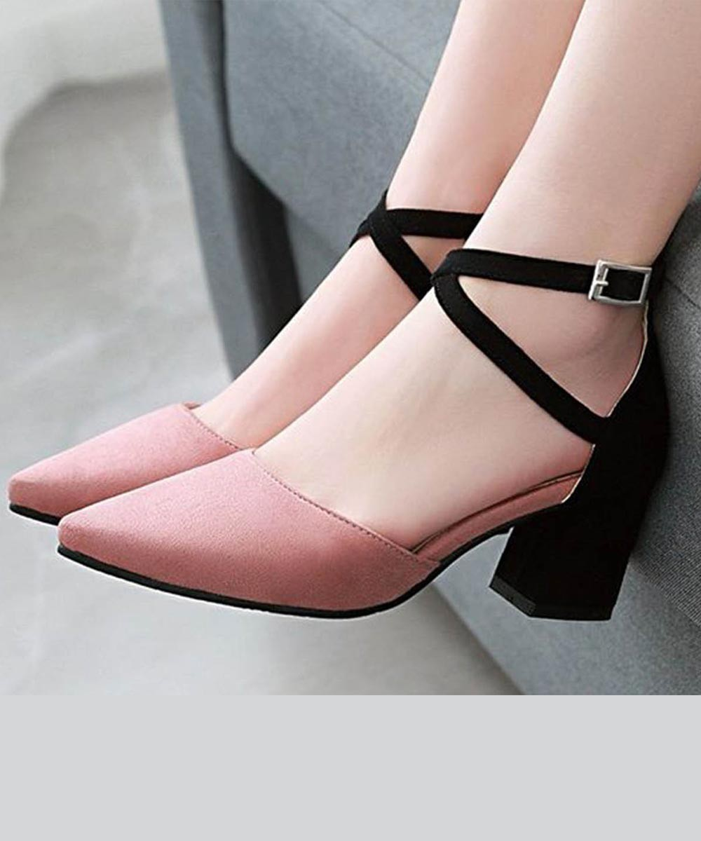 e546ee4a48 Color block stay stylish heels Pink