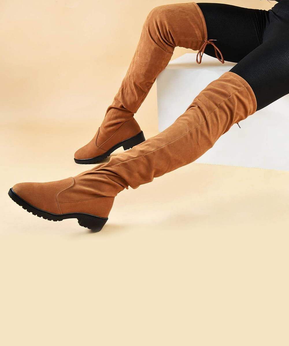 Over the Knee Brown Winter Boots