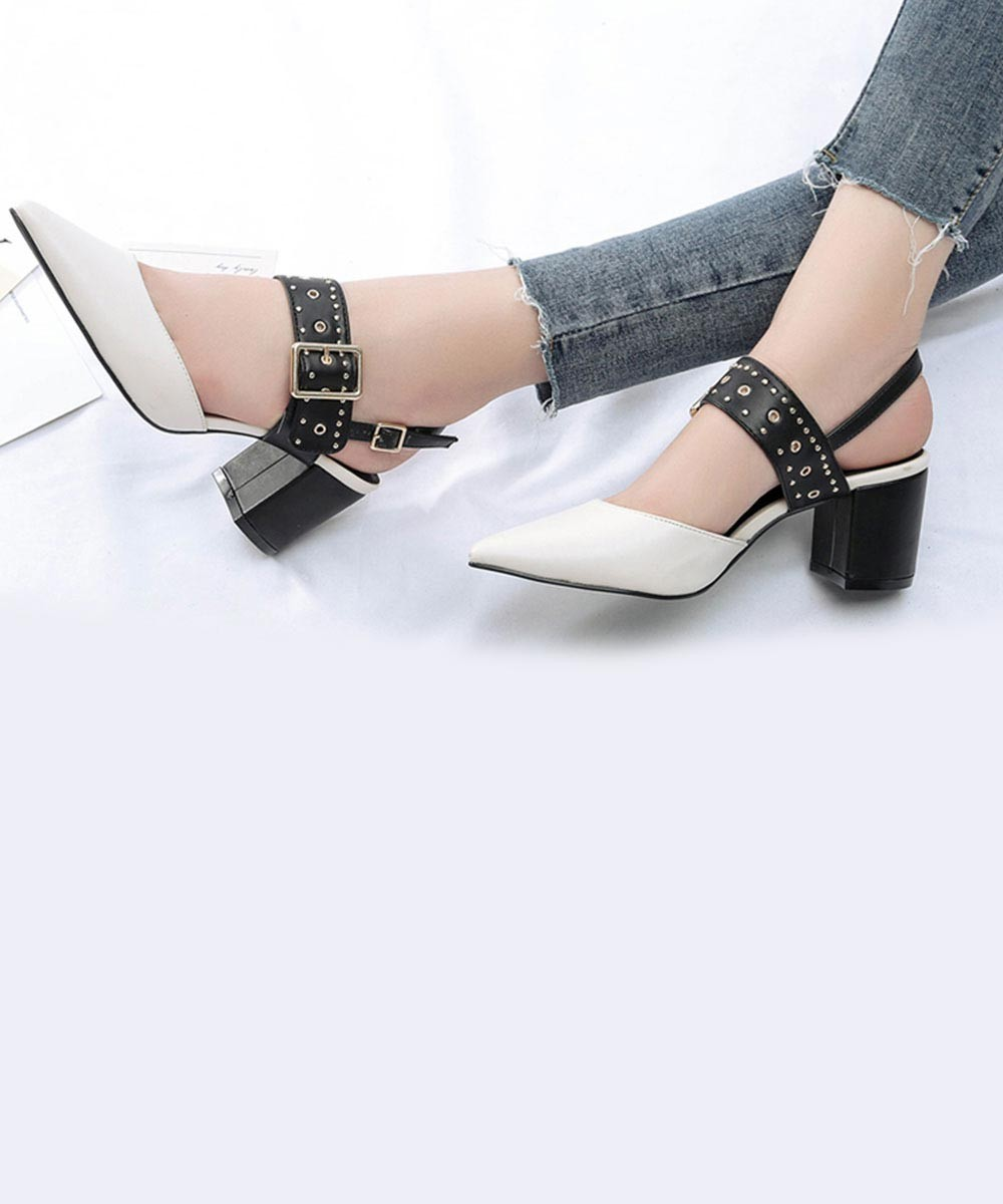 Pointed Toe Studded Strap Heel-White