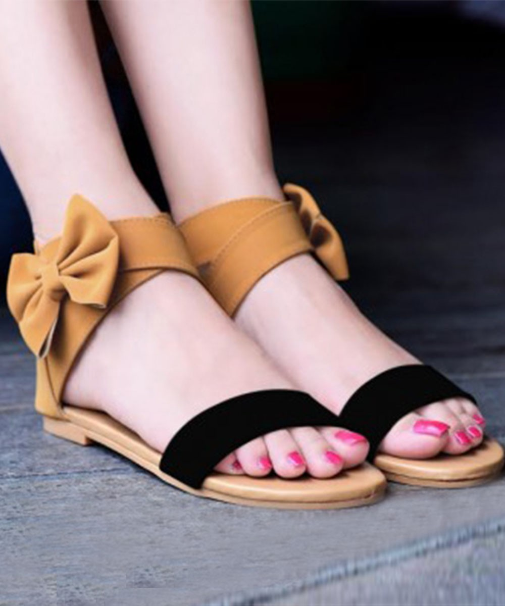 Black And Brown Bow Flat