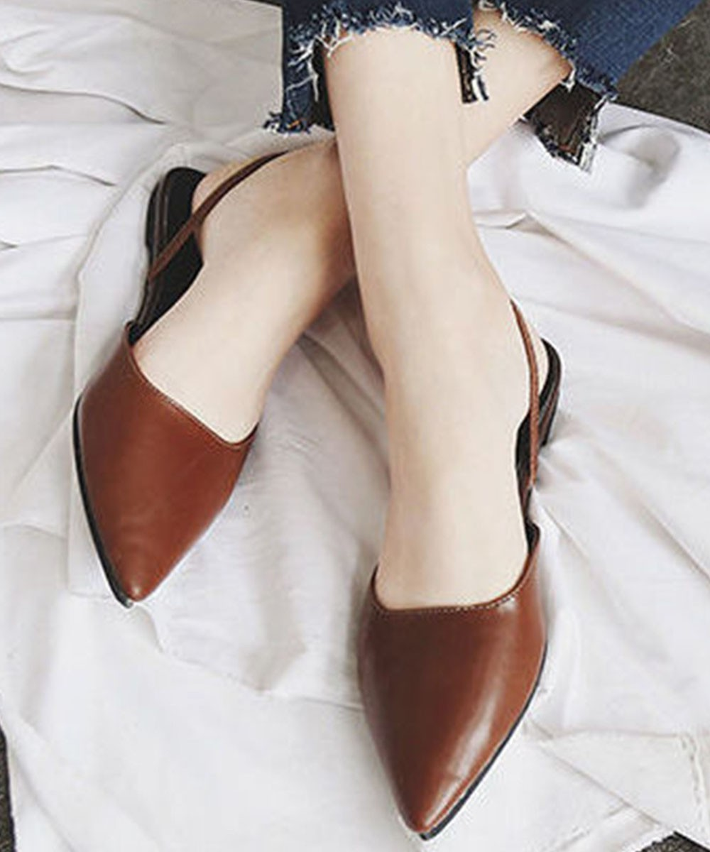 Pointy Mules Flats Brown