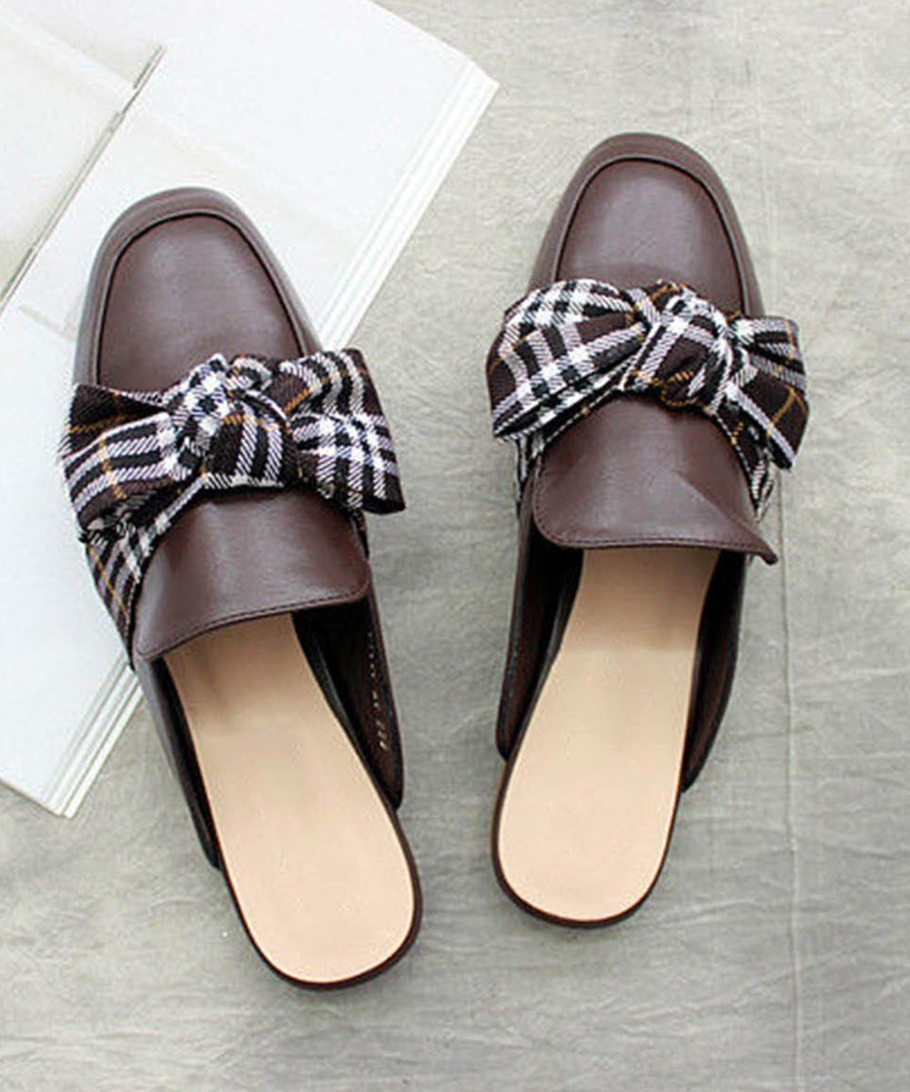 Bow-Accent Mules Brown