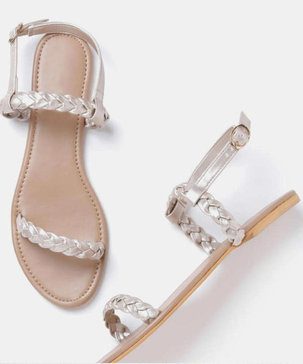Silver braid ankle strap flat