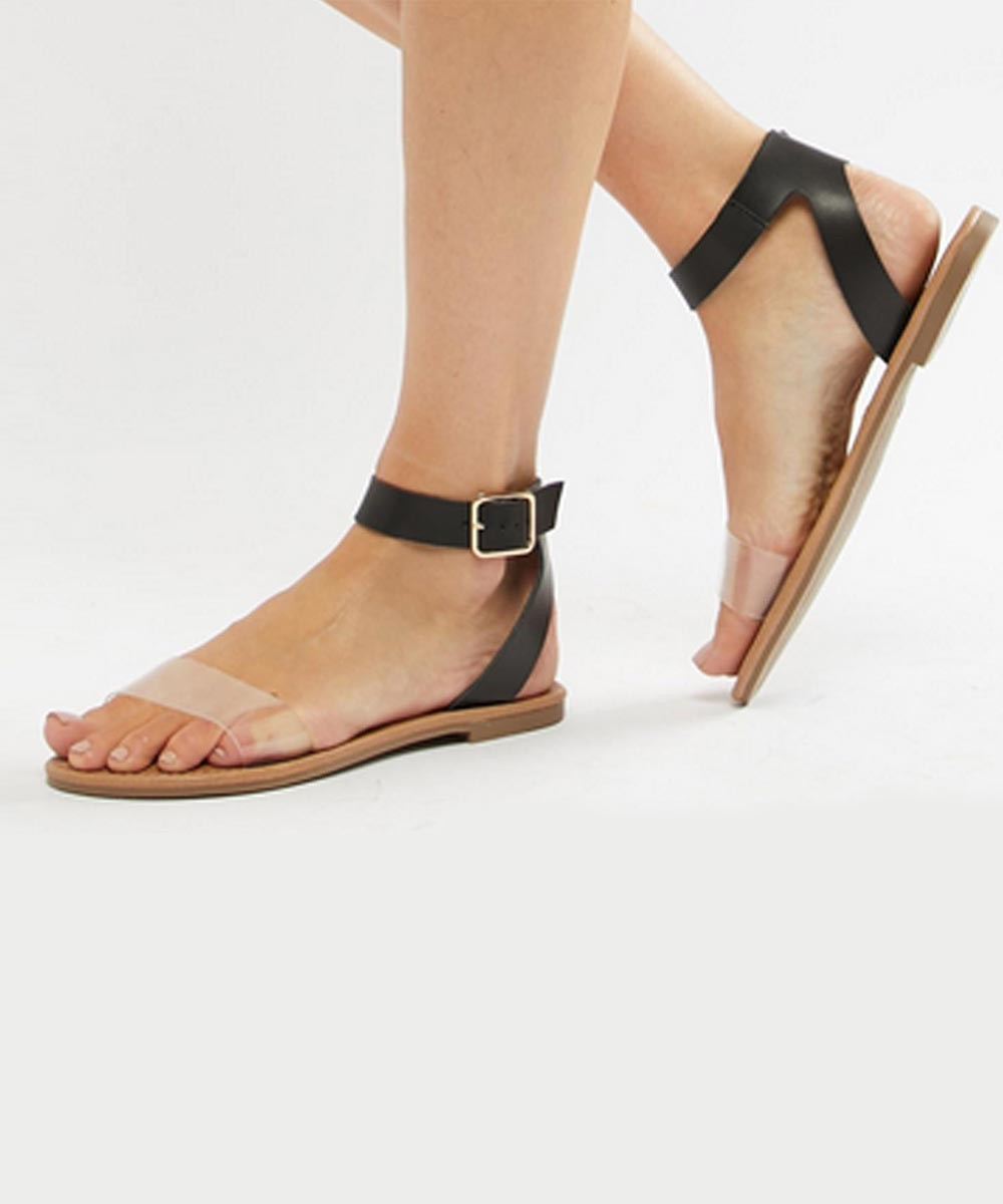 Favourite Clear Flat Sandals Black - Street Style Store