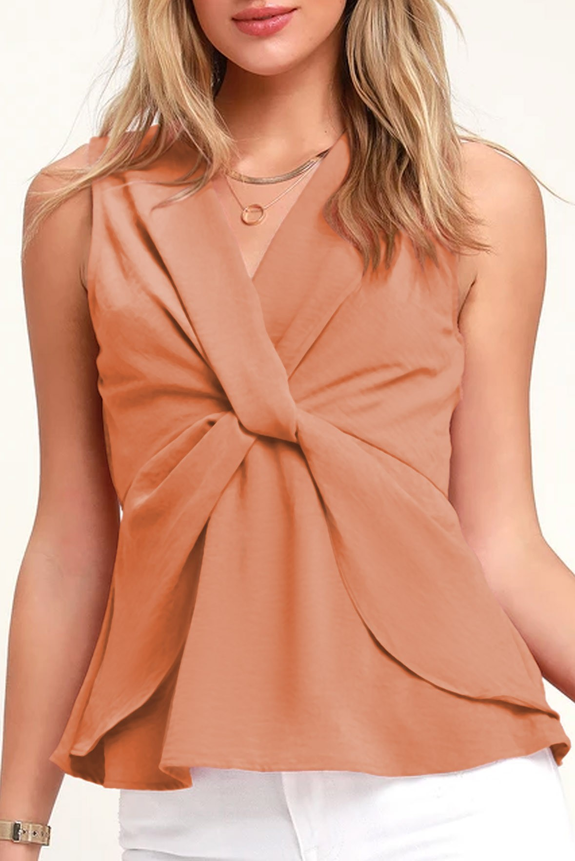 Sleeveless Blush Pink Twist-Front Top