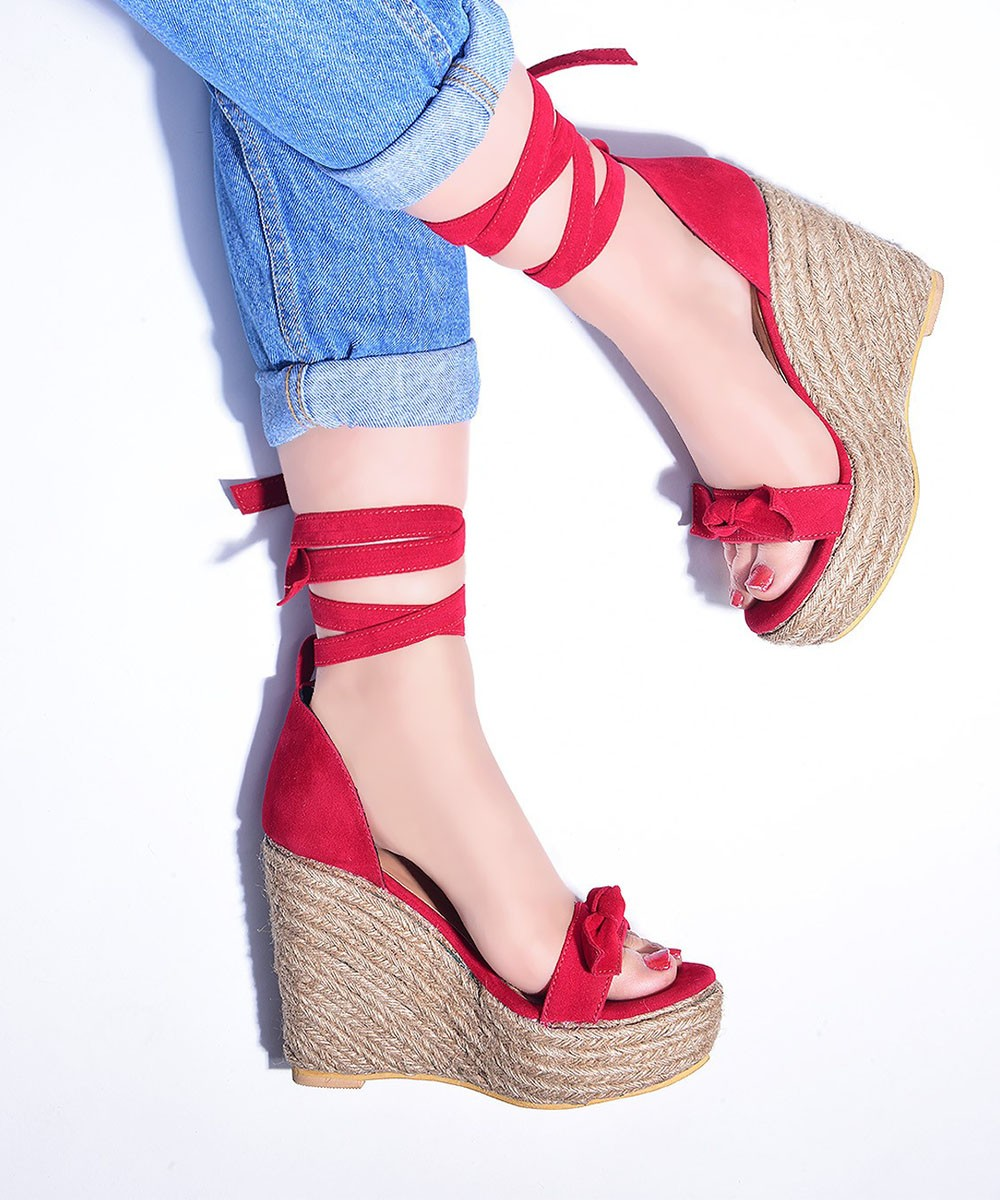 Summer trendy wedges Red