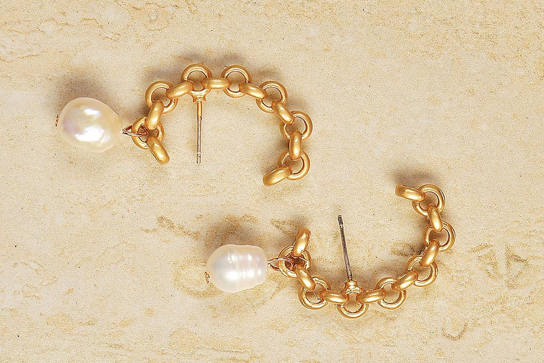 Golden chain pearl earrings