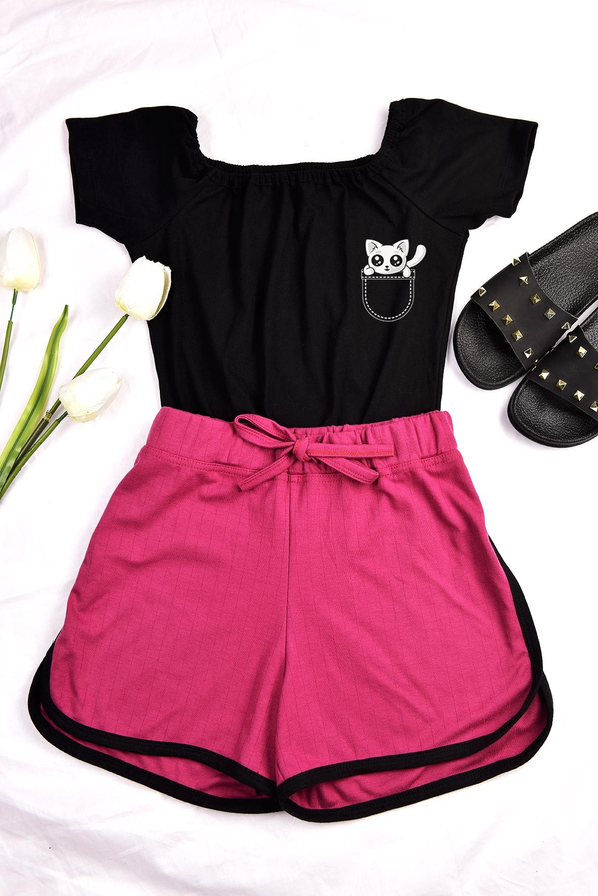 Set - Black kitty top with Pink shorts