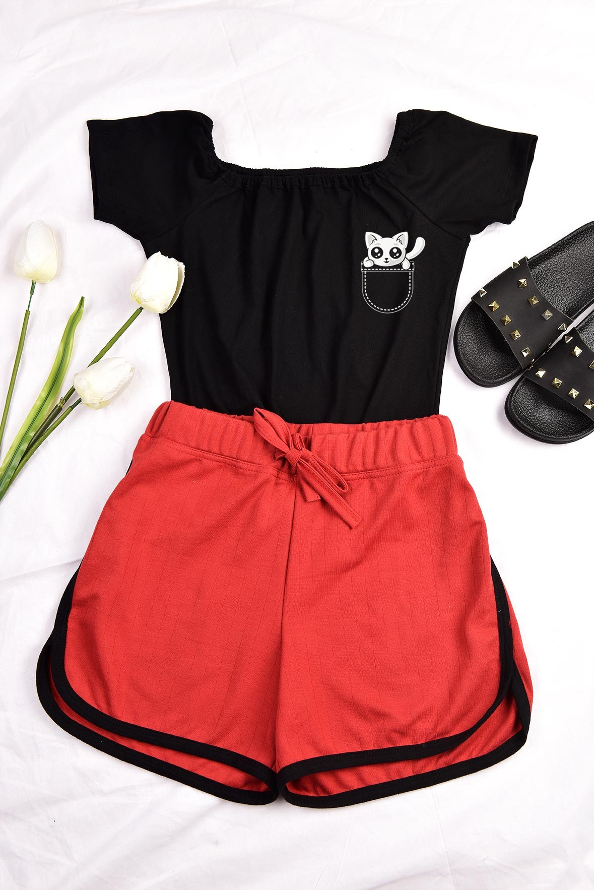 Set - Black kitty top with Rusted Orange shorts