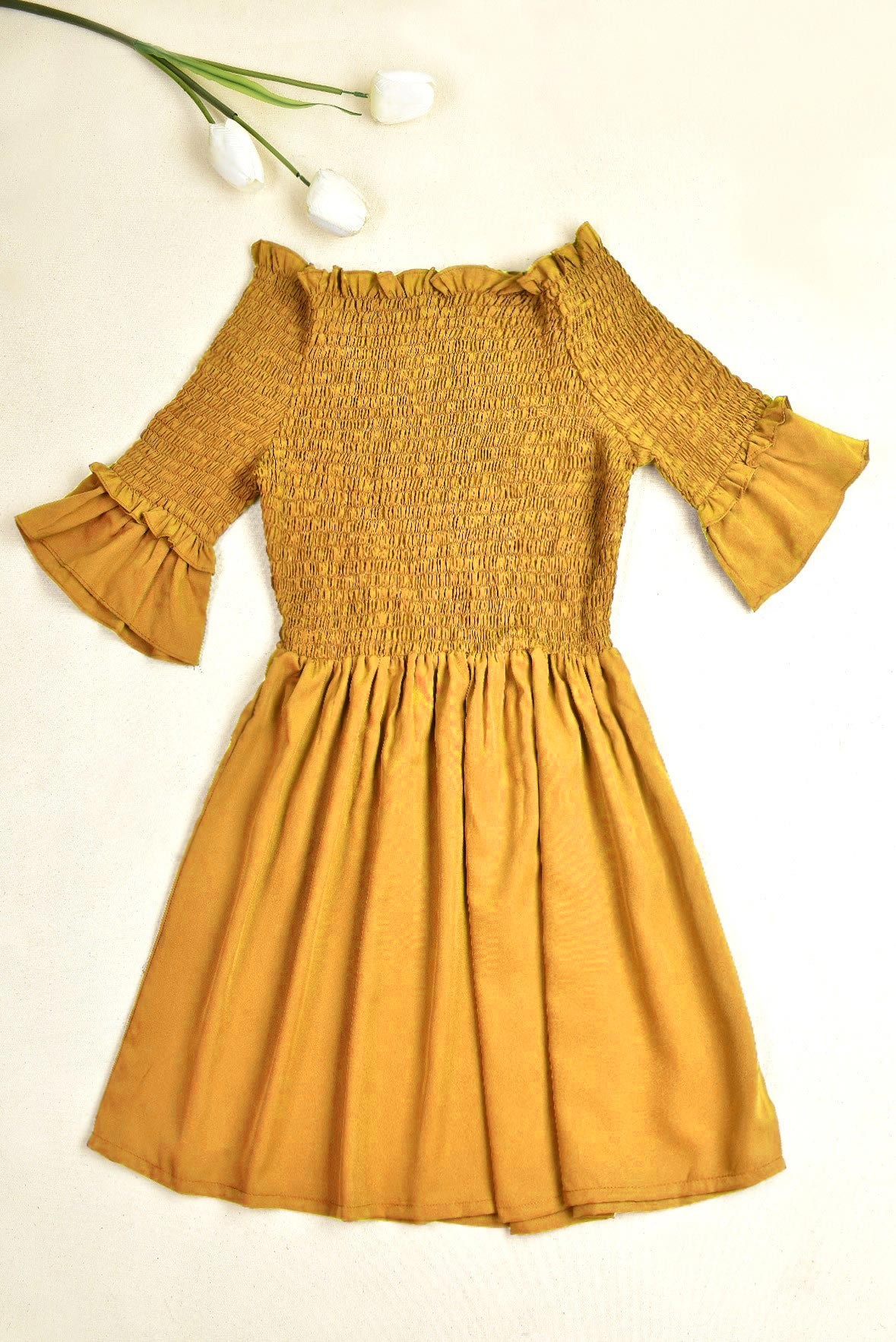 Alight on the Town Mustard Dress