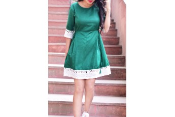 Green Dress with White Lace