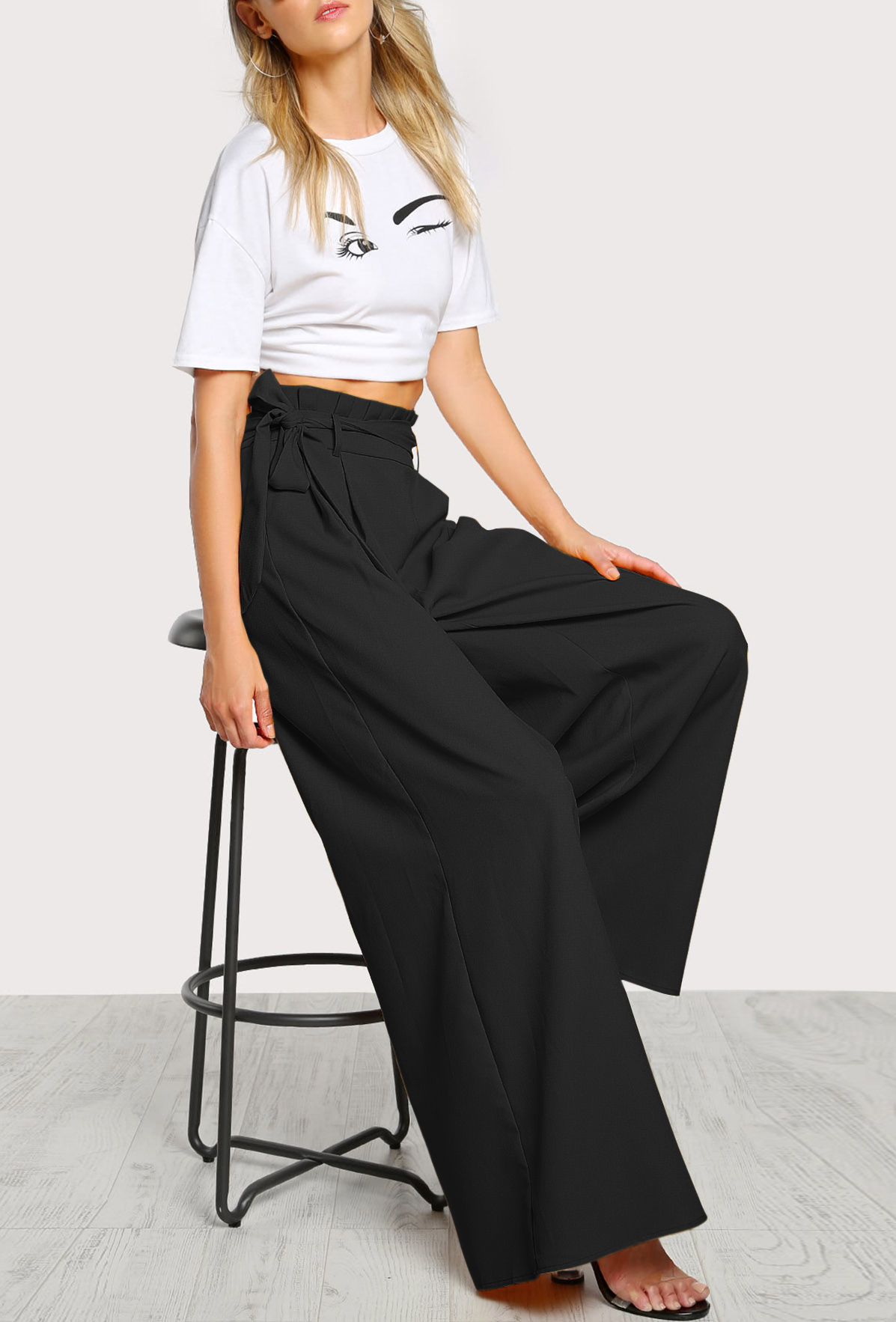 b0d8cb33792 Set- Frill Waist Belted Black Palazzo Pants And Top - Street Style Store