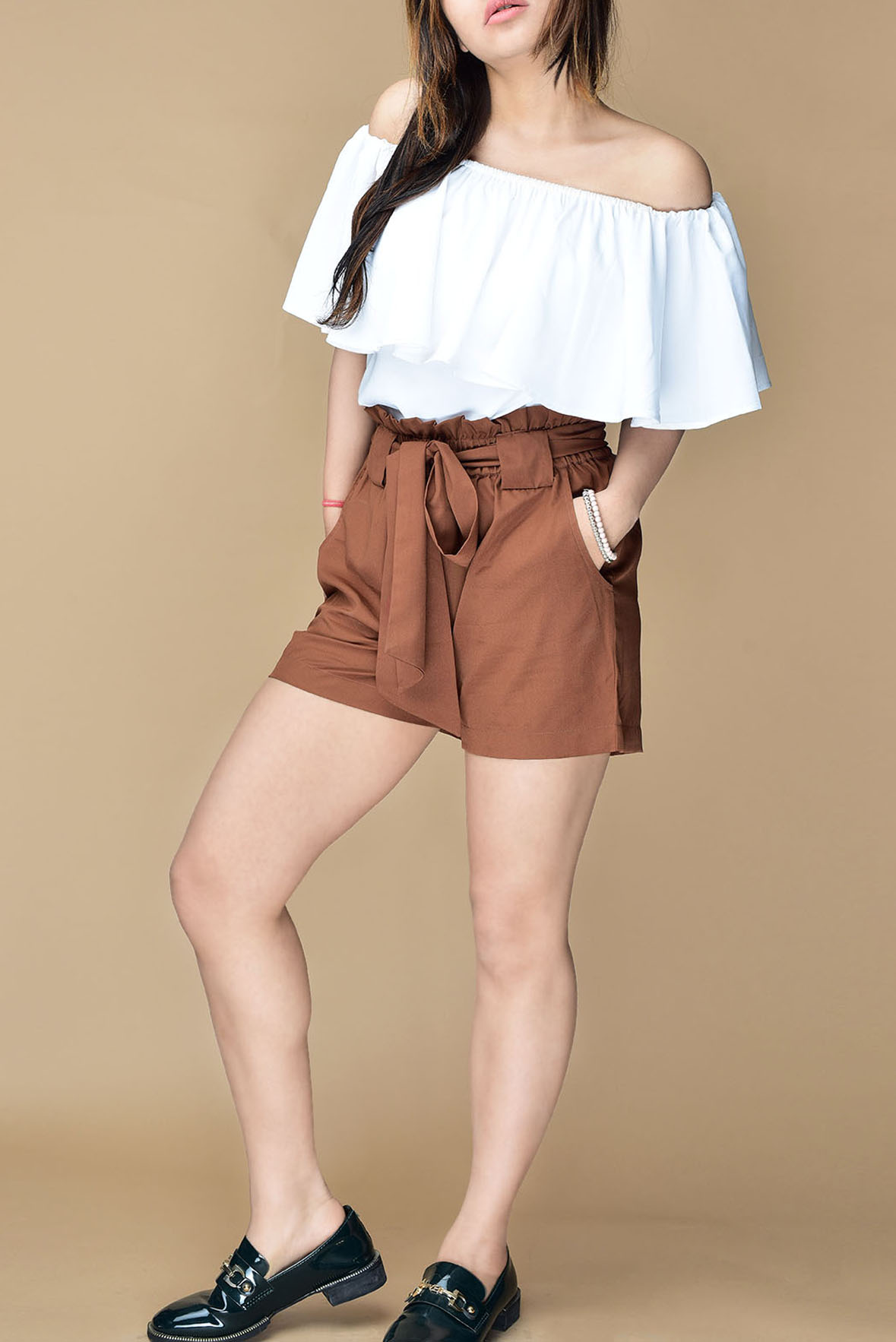 93ce6accca60 Set- White off shoulder top with brown shorts - Street Style Store