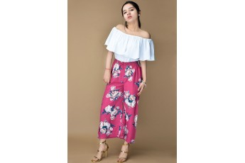 Set- White off shoulder top with floral printed trouser