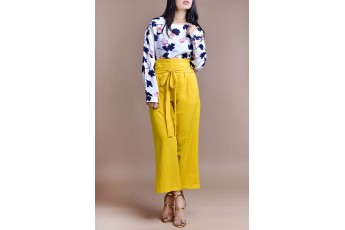Set- Floral top with yellow trouser