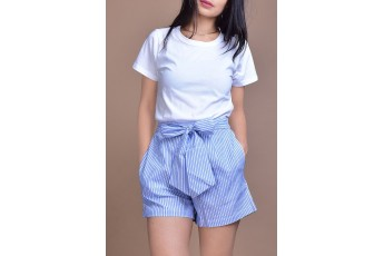 Set- White half sleeves top with Blue stripes shorts